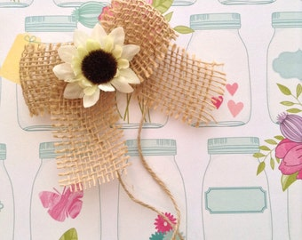 Burlap Mason Jars Bows / Small Burlap Bows Decor with Flower / Burlap Bows with Off White Sunflower/ Set of 12 / Handmade Small Bows