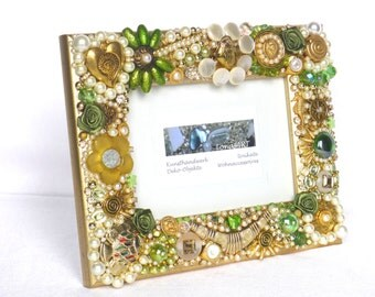 Jeweled Frame green, Photo Frame, gold, greenery, framed mosaics, Button Art, Jeweled Picture frame, framed jewelry art, christmas gift