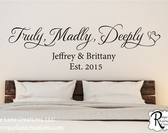 Truly Madly Deeply Family Established Bedroom Wall Decal- Bedroom Wall Quote - Bedroom Decor - Bedroom Wall Decor- Bedroom Decal