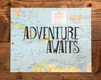 """The West Indies Map Print, Adventure Awaits, Great Travel Gift, 8"""" x 10"""" Letterpress Print"""
