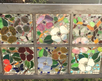 Perfect for Spring: Handmade Stained Glass Mosaic Antique Window.