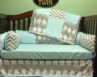 4 Pc Standard Crib Bedding Set- Grey Elephant/ Chevron with Mint