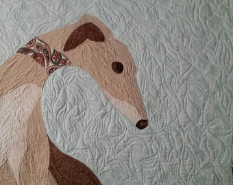 OOAK greyhound quilt wall hanging