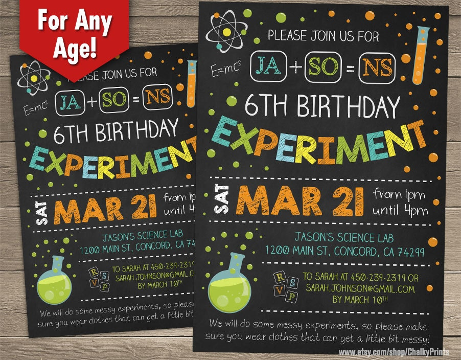 Science Birthday Invitations Science Birthday Party Science – Mad Scientist Birthday Party Invitations