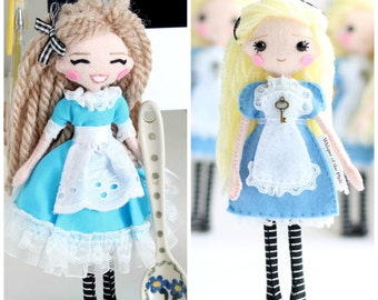 Alice in Wonderland Felt Art Doll. Two designs available. 18cm Fairytale Doll, Fantasy Present, Doll in Gift Box, Blond Doll