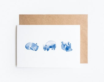 Greeting Card, Blank: Wombat Watercolour