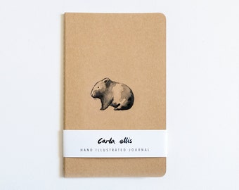 Moleskine Journal: Wombat, Hand Illustrated - Blank or Lined
