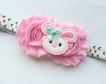 Easter Headband - Easter Bunny Headband Photo Prop - Newborn Easter Head Band - Pink Shabby Flower Hair Band - Boutique Headband for Easter