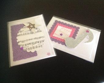 Music card pair mauve