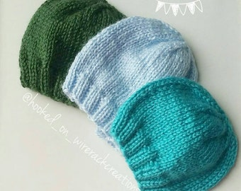 Baby knit hat; newborn, 0-3, 3-6