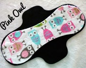 Pink Owl* Standard Minky top Cloth menstrual pad- You choose size & absorbency Made to order