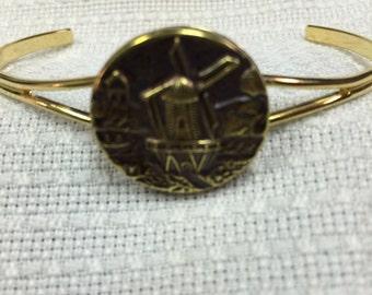 Antique button cuff bracelet