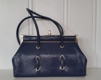 Working Girl • Early 1960s Patent Navy Purse