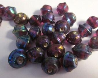 12 Vintage Iridescent Lampwork Beads