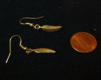 Tiny Gold Tone Feather Earrings, Women's Feather Jewelry, Ready to Ship, Feather Charms, Nickle Free Earrings, Gold Tone Feather Jewelry