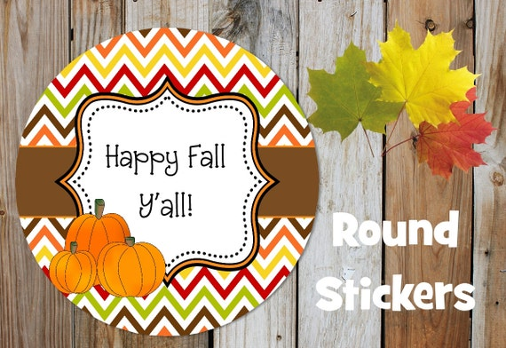 Fall Stickers - Chevron Stickers - Set of 12 Round Labels - Personalized Labels - Orange, Brown, Tags, Stickers, Pumpkin Stickers