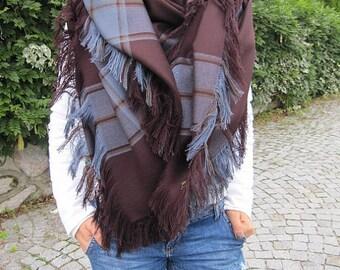 Wool Blanket Scarf Damson Burgundy Blue Tartan Plaid Blanket Scarf, Flannel Shawl, Fashion Blanket Shawl, Women's Scarf, Men's Winter Scarf