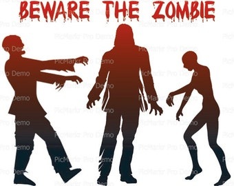 Halloween Beware The Zombies - Edible Cake and Cupcake Topper For Birthday's and Parties! - D21637