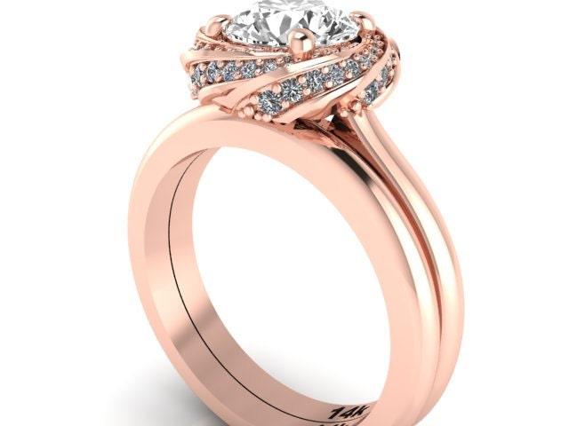 engagement ring wedding band bridal rings swirl rings