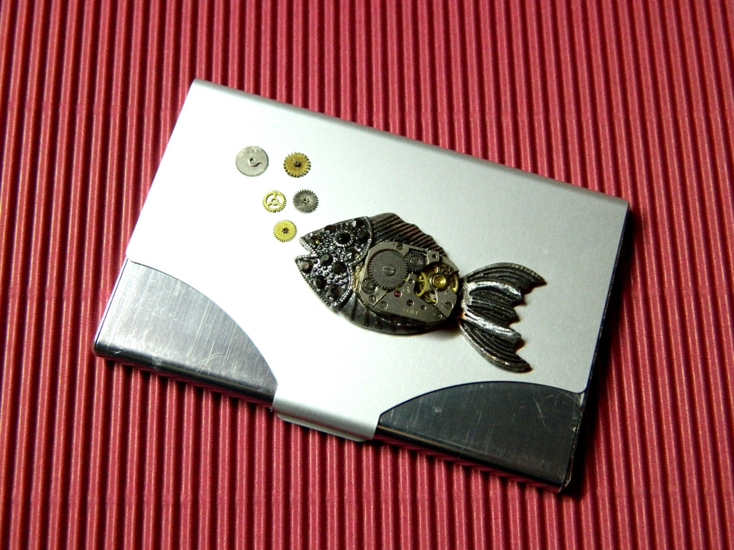 Steampunk business card holder the submerged time for Steampunk business card holder