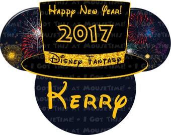 MAGNET New Year's Eve Top Hat with Fireworks Ears - 5 COLOR Options! - Mouse Ears Stateroom Door Magnet