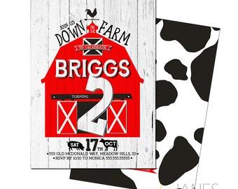 "Barnyard Birthday Invitation | Down On The Farm Invitation | Farm Birthday | Farm Shower Invitation - 5X7 with *bonus reverse side"""