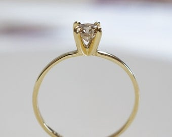 Solitaire Ring-Diamond Engagement Ring-14 k Yellow Gold ring-Promise ring -Solitaire engagement ring-For her jewelry- Anniversary ring-