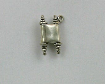 925 Sterling Silver Ancient Scroll Charm, Travel and History Theme Jewelry - TR128