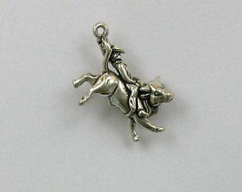 Sterling Silver 3-D Bull Rider Charm