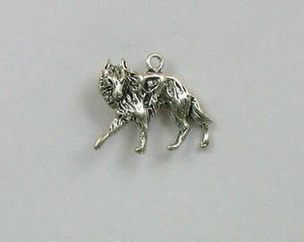 Sterling Silver Standing Wolf Charm