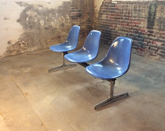 Herman miller tandem seating bench by Charles and Ray Eames mid century bench