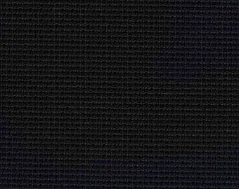 Cross stitch fabric counted cloth ZWEIGART AIDA 14 COUNT Black 720 sold by the meter - hand embroidery fabric bulk pure cotton black