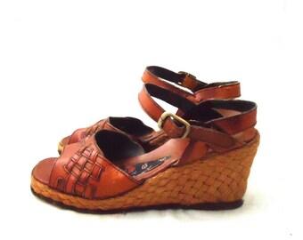 70s Wedge Platforms Sandals Espadrilles Jute Macrame Leather Ankle Strap Boho size 8 38 39