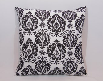 Custom made black and white damask pillow cover/sham. Multiple sizes to choose from.