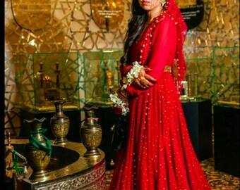 Maroon Anarkali Gown Bridal Fusion