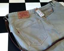 Genuine Levis denim handbag upcycled repurposed from old jeans by AsBeAu 100% leather strap #10