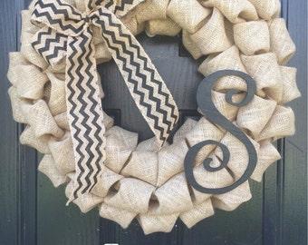 S Personalized Initial Burlap Wreath