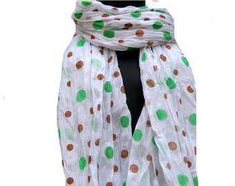 Polka dots scarf/ white scarf/ fashion scarf / cotton  scarf/ hand printed scarf/  gift ideas.
