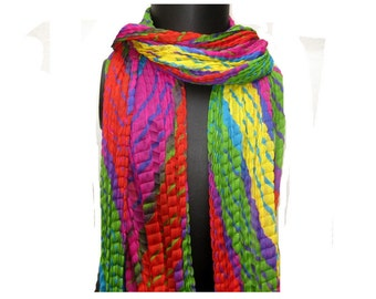 Tie and dye scarf/ multicolored  scarf/ pom pom  scarf/ cotton scarf/ fashion  scarf/ gift scarf / gift ideas.