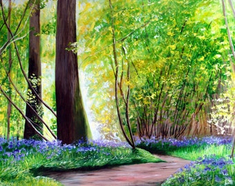 Bluebell Painting. Hand-Embellished Limted Edition Print. Mounted Canvas Print of Bluebells in a Forest. Replica of original painting.