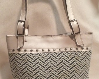 Black and white leather purse