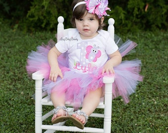 Girls first birthday outfit butterfly pink and purple tutu headband set custom personalized name