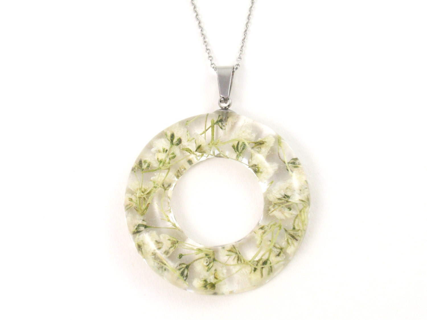 Real flower Necklace Pressed flowers jewelry Botanical