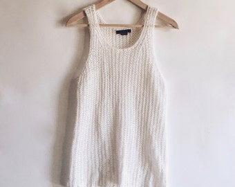 VTG The Limited White Sleeveless Loose Knit Tank Top Sweater