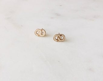 Dead Stock Vintage Miniature Ivory Enamel Infinity Stud Earrings