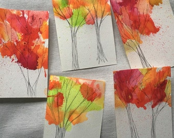 Fall Tree Hand Painted Postcard