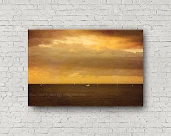 Ocean Sunrise, Abstract Ocean, Sunrise Photo Art, Sunlight & Boats, Pacific Ocean, Dana Point Harbor, Doheny Beach Orange County, California
