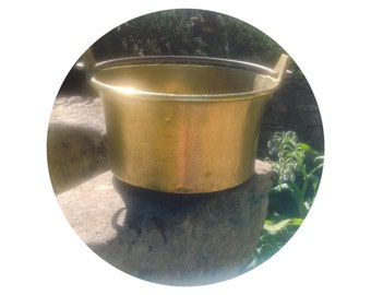 French Vintage Brass Bucket with Cast Iron Handle. Lovely Kitchen Display Pail/ cauldron/ Jam Pan. Aged Patina and Authentic Charm.