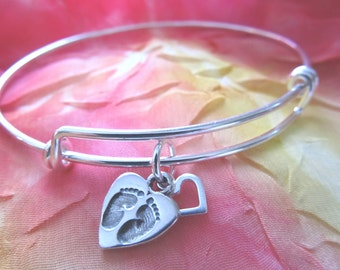 Welcome New Baby - Your Steps Will Be Guided by My Heart ... Sterling Silver Bracelet