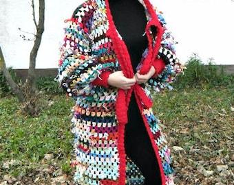 Colorfull crochet coat hoodie